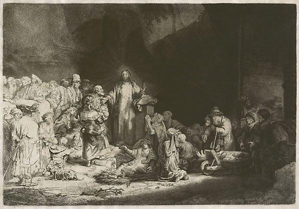 An image of Christ with the sick around him, receiving little children