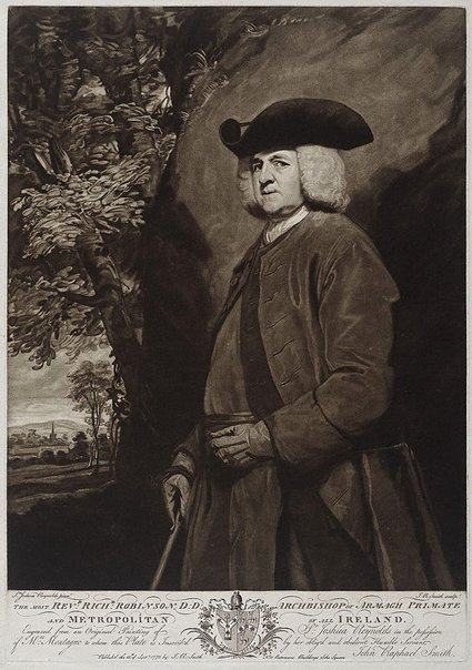 An image of The Most Rev. Richard Robinson by John Raphael Smith, after Sir Joshua Reynolds