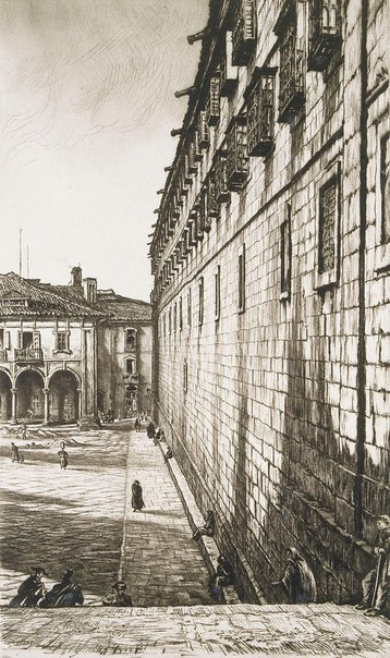 An image of The Convent of San Payo, Santiago de Compostela, Spain by Sir Muirhead Bone