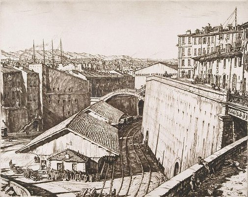 An image of Railway sheds, Marseilles by Sir Muirhead Bone