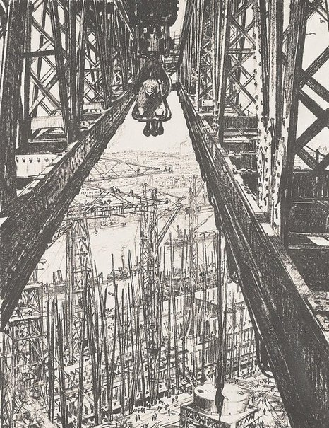 An image of Building ships: a shipyard seen from a big crane by Sir Muirhead Bone