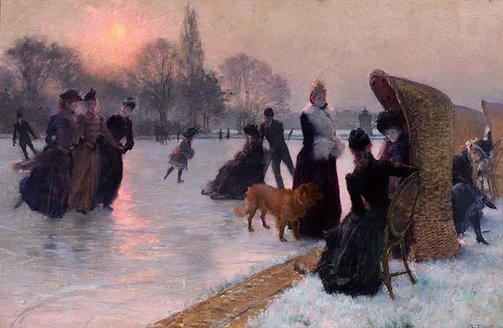 An image of Ice skaters by Henri Doucet