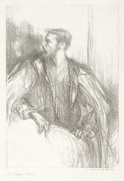 An image of T Sturge Moore, wearing a cloak by Charles Shannon