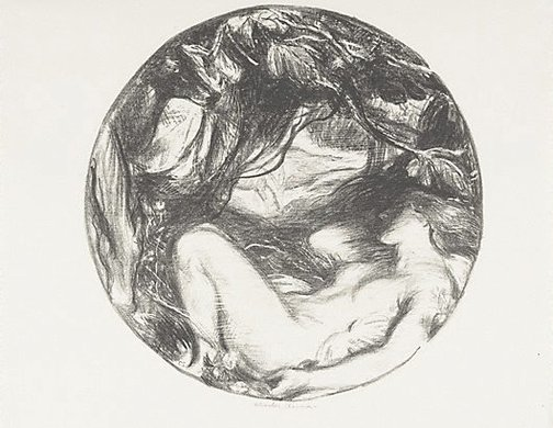 An image of The wood nymph by Charles Shannon
