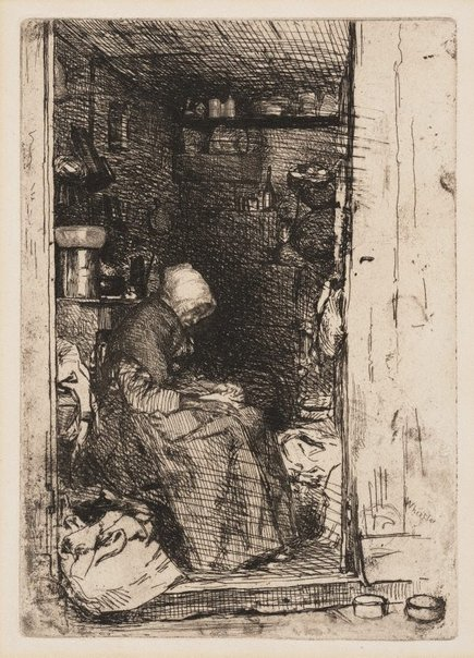 An image of The old rag lady by James Abbott McNeill Whistler