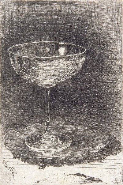 An image of The wine glass by James Abbott McNeill Whistler