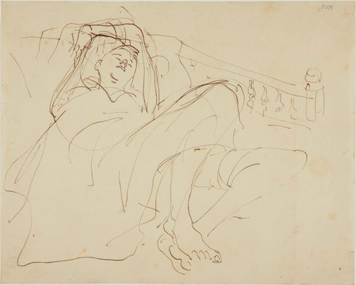 An image of (Study of reclining boy) (London genre) by William Dobell