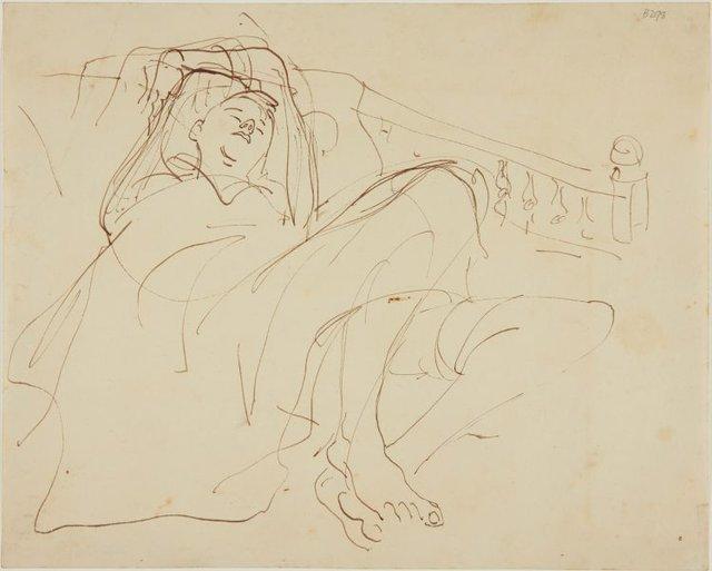 An image of (Study of reclining boy) (London genre)