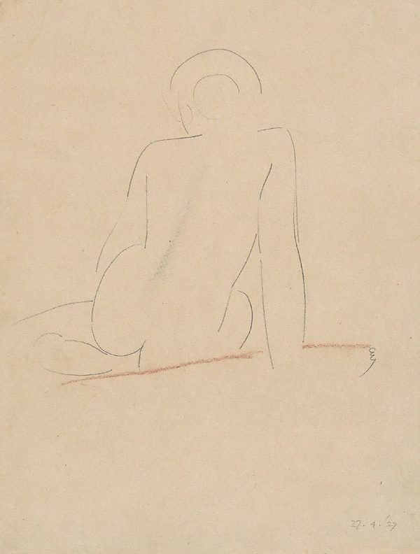 An image of Seated nude from behind