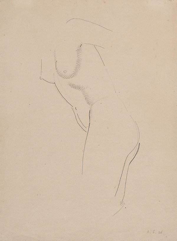 An image of Nude figure - leaning forward