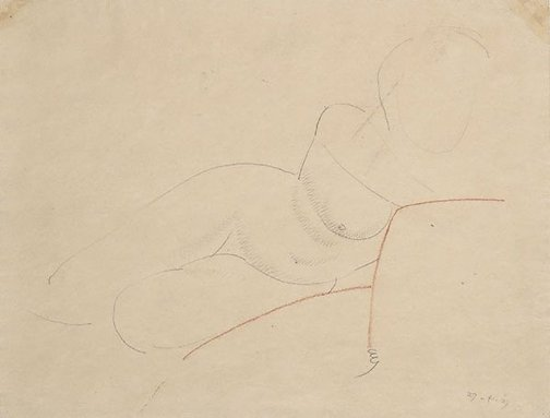 An image of Reclining nude by Eric Gill