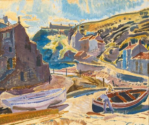 An image of Morning by the Beck, Staithes by Frank Medworth