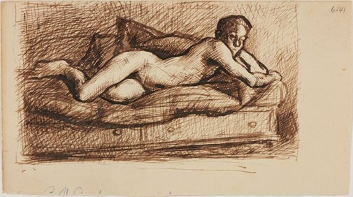 An image of Boy on a divan - nude study by William Dobell