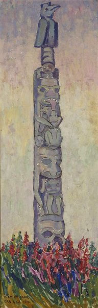 An image of Indian Totem pole, Yan, Queen Charlotte Islands by Emily Carr