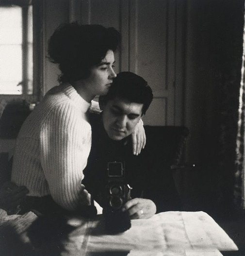 An image of Self-portrait in a mirror with Pat, Paris by Lewis Morley