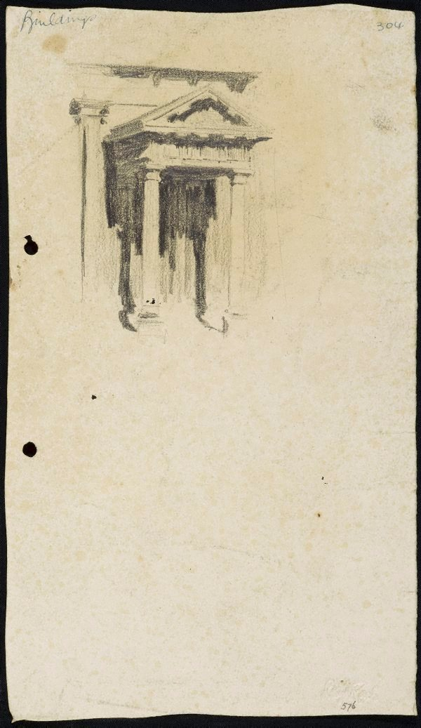 An image of recto: Side portico of St James' Church verso: The House with an attic [top, upside down] and Two men in a boat [bottom]