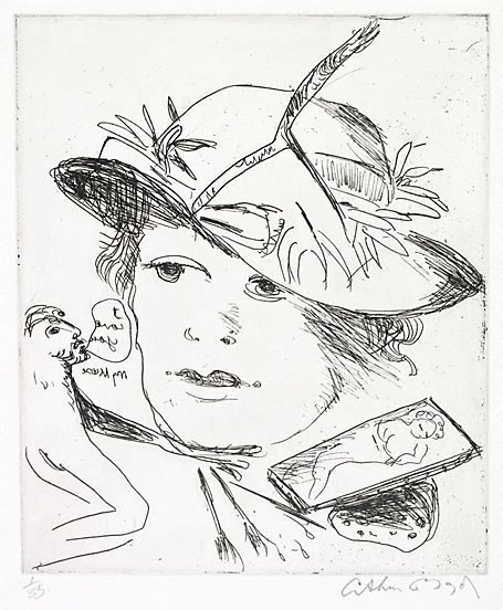 An image of Coral tree branch on muse's hat by Arthur Boyd