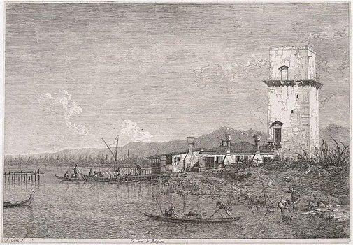 An image of La torre di Malghera by Canaletto