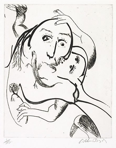 An image of Lovers and lizard by Arthur Boyd