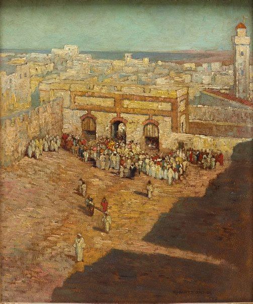 An image of Powder play in the Running Ground Square, Mogador, Morocco by Robert E. Groves
