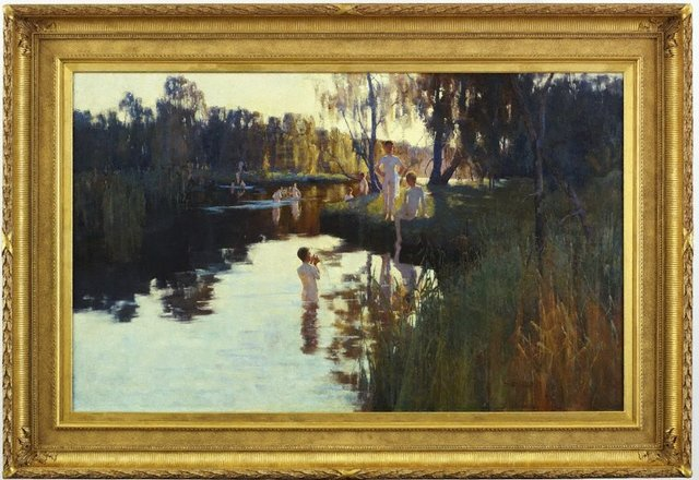 By tranquil waters, (1894) by Sydney Long