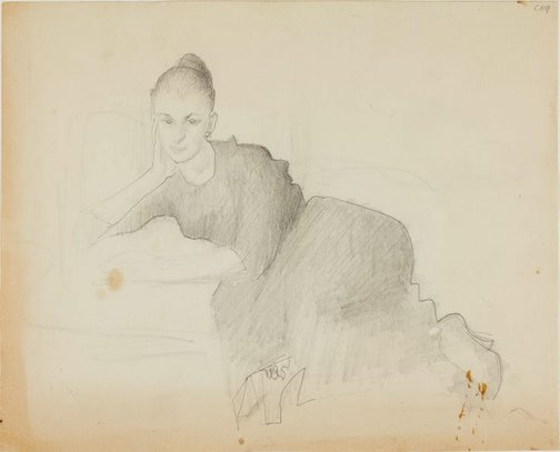 An image of Portrait study of a woman - half reclining by William Dobell