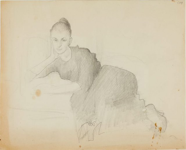 An image of Portrait study of a woman - half reclining