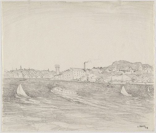 An image of Drawing for 'Wind on the harbour' by Lloyd Rees