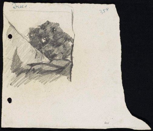 An image of recto: Trees verso: House with an attic [upside down] by Lloyd Rees