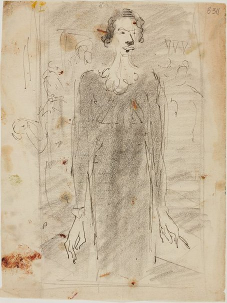 An image of (Study of a woman) (London genre) by William Dobell