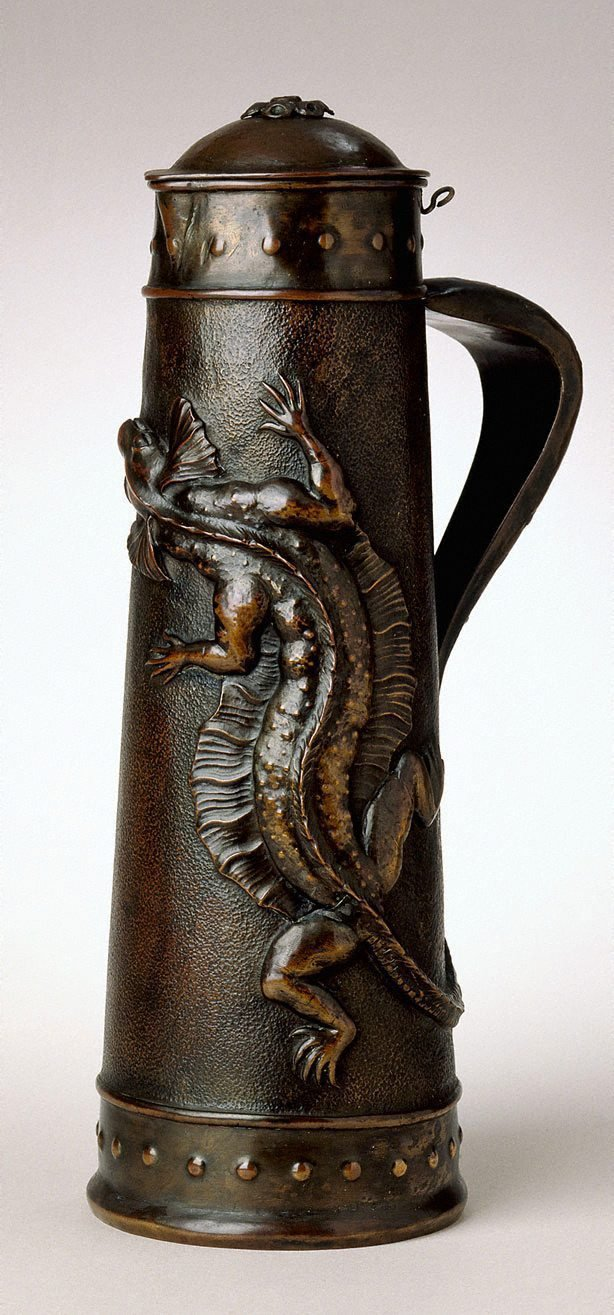 An image of Tankard with frilled lizard, insect and gumleaf design