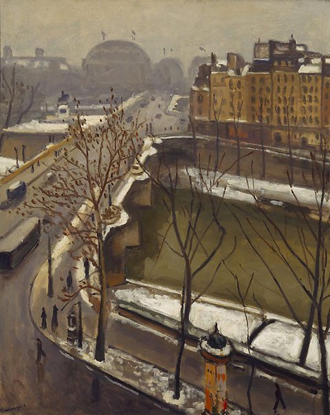 An image of The Pont Neuf in the snow by Albert Marquet