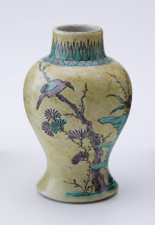 An image of Vase decorated with trees, birds, and chrysanthemum
