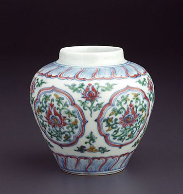 Alternate image of Jar with five quatrefoil panels by Jingdezhen ware