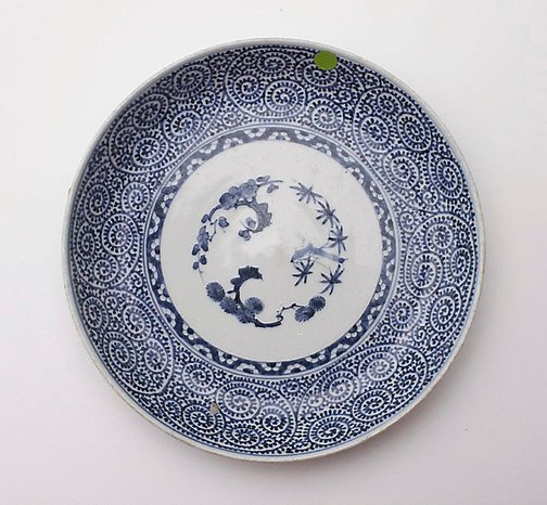 An image of Plate decorated with pine, prunus and bamboo by Arita ware
