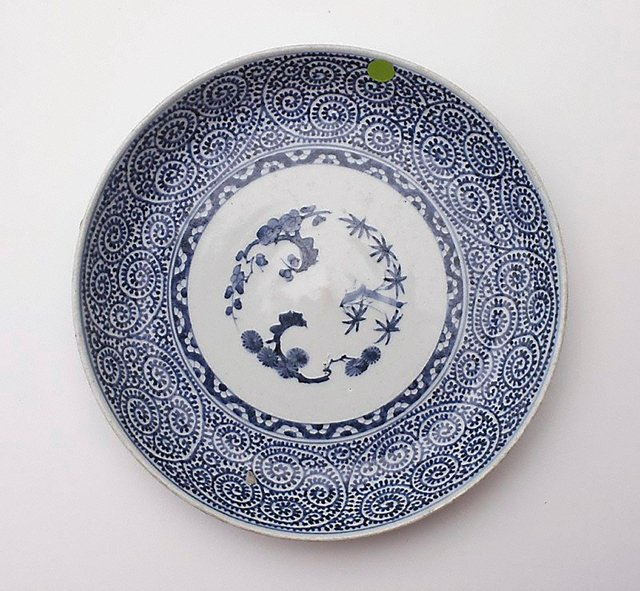 An image of Plate decorated with pine, prunus and bamboo