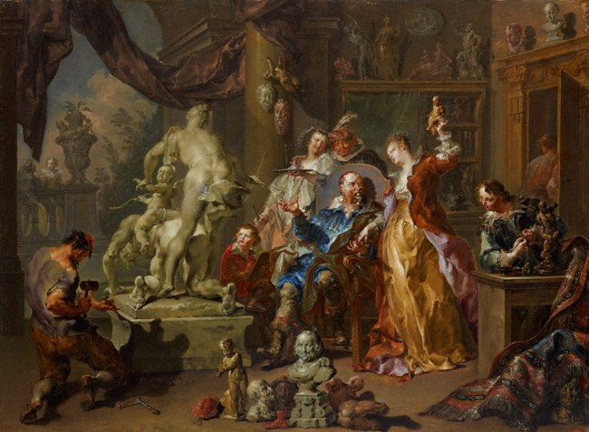 AGNSW collection Johann Georg Platzer The sculptor's studio (1730) 696
