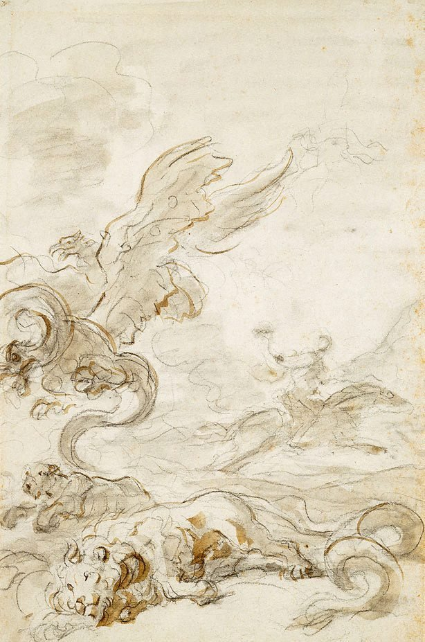 An image of Orlando Furioso: Astolfo puts the dragons and lions to flight with his magic horn