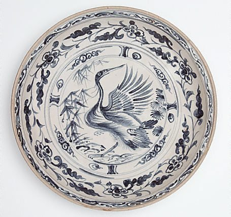 An image of Large dish with crane, pine and bamboo medallion by