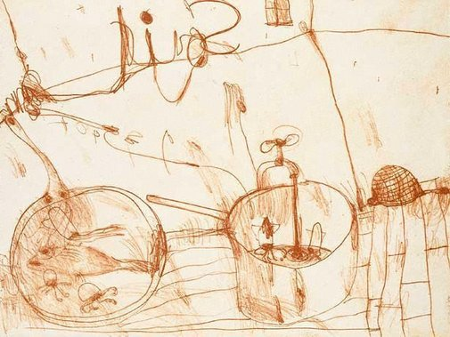 An image of Kitchen story by John Olsen