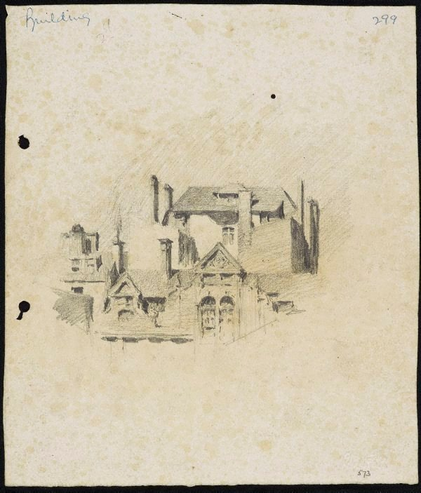 An image of recto: Houses with chimneys verso: Urn and balustrade [sideways]