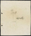 Alternate image of recto: Houses with chimneys verso: Urn and balustrade [sideways] by Lloyd Rees