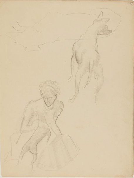An image of (Figure with dog) (Early Sydney period) by William Dobell