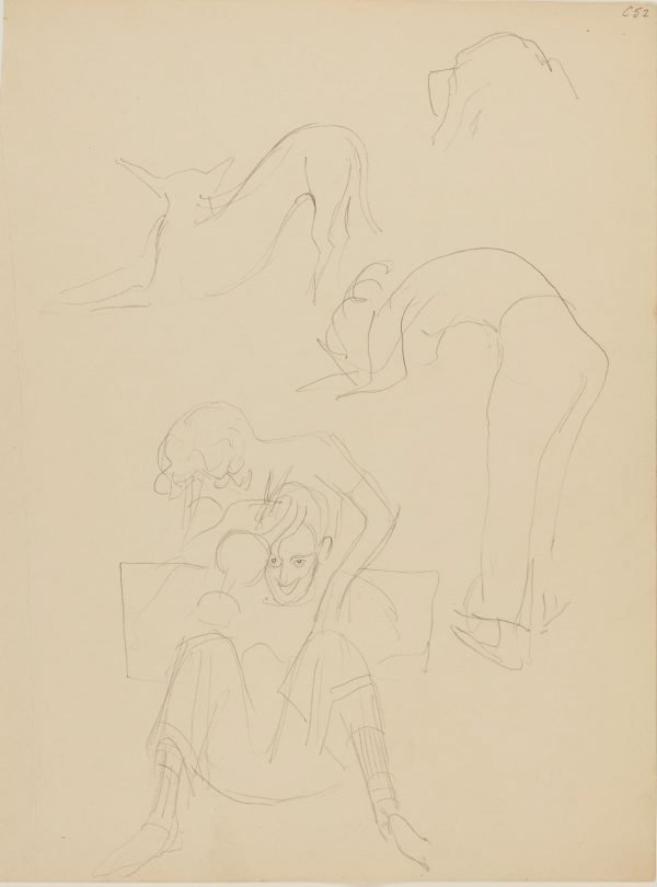 An image of (Woman cutting man's hair, dog studies) (Early Sydney period)