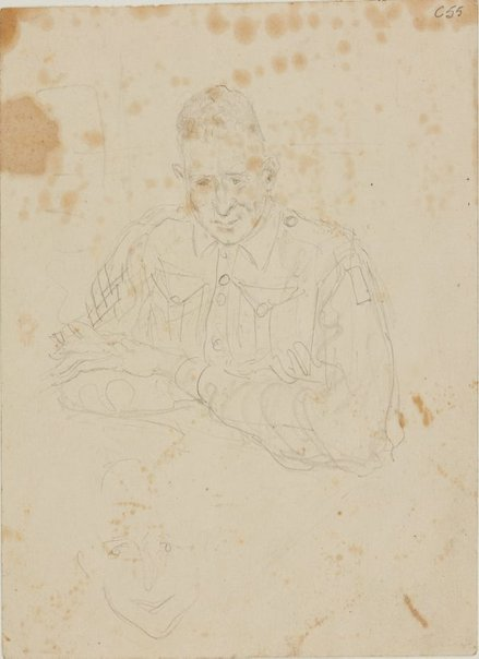 An image of (Portrait study of a soldier) (Early Sydney period) by William Dobell