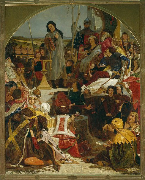 An image of Chaucer at the court of Edward III by Ford Madox Brown