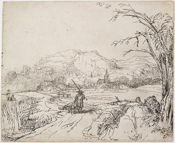 An image of Landscape with sportsmen and dogs