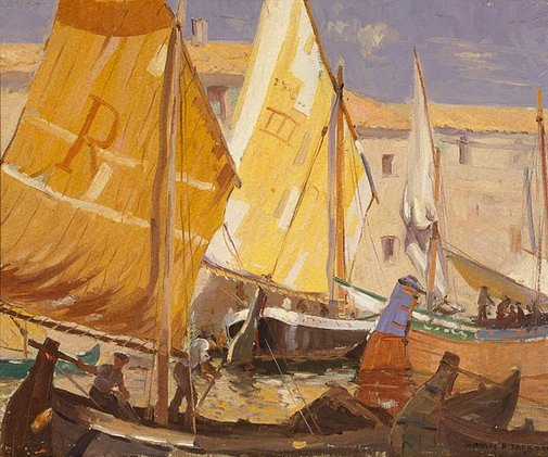 An image of Venetian fishing boats by James R Jackson