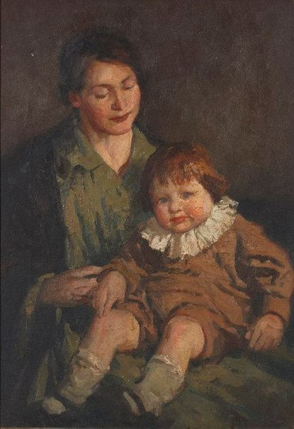 An image of Mother and child by Percy Leason