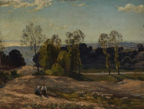 An image of Sunlight through the trees by Sir Herbert Hughes-Stanton